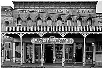 Old hardware store building. Virginia City, Nevada, USA ( black and white)