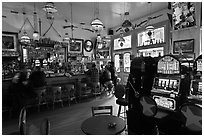 Slot machines in saloon. Virginia City, Nevada, USA (black and white)