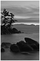 Boulders and trees, sunset, Sand Harbor, East Shore, Lake Tahoe, Nevada. USA (black and white)