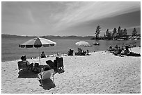 Sandy beach on East shore, Lake Tahoe-Nevada State Park, Nevada. USA (black and white)