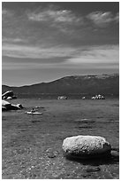 Boulders and kayak, Lake Tahoe-Nevada State Park, Nevada. USA ( black and white)