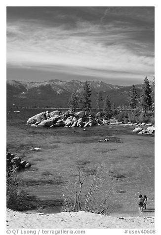Sandy Cove, Lake Tahoe-Nevada State Park, Nevada. USA (black and white)