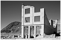 Ruined bank in  Ryolite ghost town. Nevada, USA ( black and white)