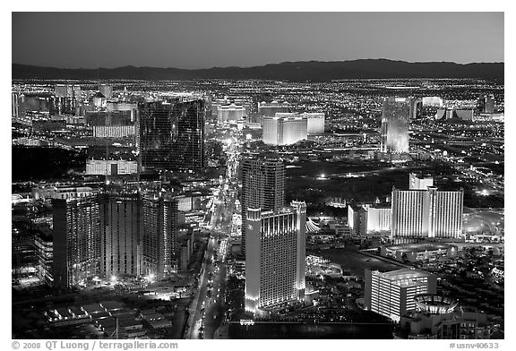 Las Vegas Strip lights seen from above at sunset. Las Vegas, Nevada, USA (black and white)