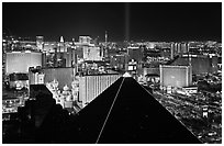 Pyramid, strip and skyline at night. Las Vegas, Nevada, USA (black and white)