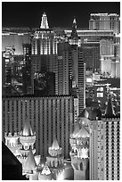 Las Vegas hotels seen from above at night. Las Vegas, Nevada, USA ( black and white)