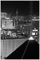 Luxor pyramid, casinos, and Stratosphere tower at night. Las Vegas, Nevada, USA ( black and white)