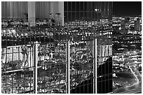 Dining room and night reflections, the Hotel at Mandalay Bay. Las Vegas, Nevada, USA (black and white)