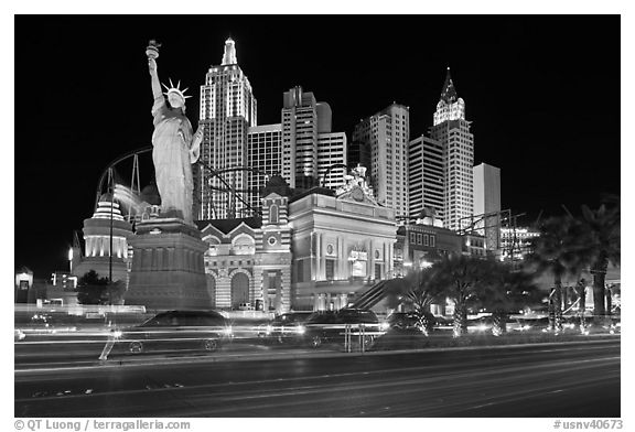 Vegas At Night Black And White