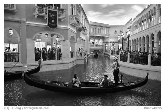 Family gondola ride inside Venetian casino. Las Vegas, Nevada, USA (black and white)
