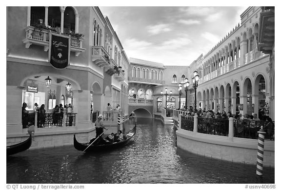Grand Canal and shops inside Venetian hotel. Las Vegas, Nevada, USA (black and white)