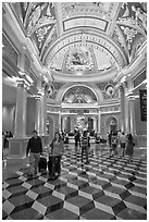 Lobby, Venetian casino. Las Vegas, Nevada, USA ( black and white)
