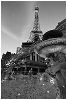 Fountain and Eiffel Tower replica at dusk, Paris casino. Las Vegas, Nevada, USA (black and white)
