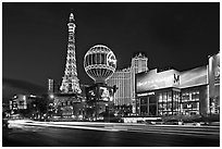 Las Vegas Boulevard and Eiffel Tower replica at dusk. Las Vegas, Nevada, USA (black and white)