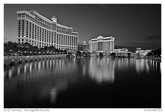 Black and white picture photo bellagio and caesar palace reflected at dusk las vegas nevada usa