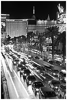 Las Vegas Strip traffic by night. Las Vegas, Nevada, USA ( black and white)