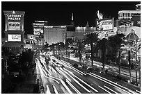 Hotels and Las Vegas Strip by night. Las Vegas, Nevada, USA (black and white)
