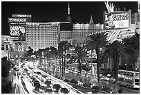 Busy traffic at night on Las Vegas Strip. Las Vegas, Nevada, USA (black and white)