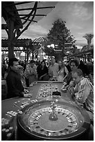 Roulette game. Las Vegas, Nevada, USA ( black and white)
