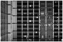 Facade detail of Ballys hotel. Las Vegas, Nevada, USA (black and white)
