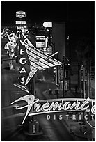 Neon lights in East Fremont district. Las Vegas, Nevada, USA (black and white)