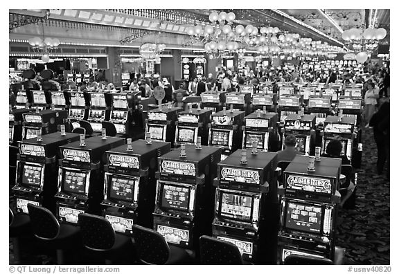 Rows of slot machines. Las Vegas, Nevada, USA