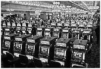 Rows of slot machines. Las Vegas, Nevada, USA (black and white)