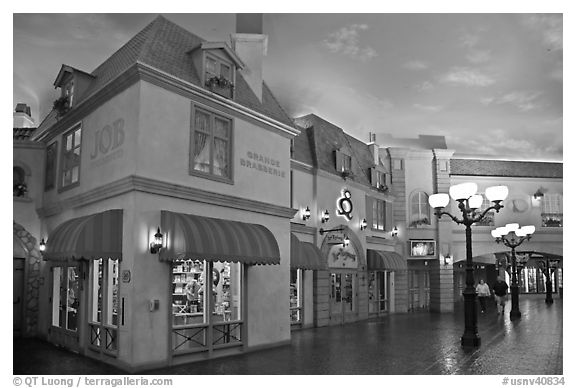 Stores in French style inside Paris hotel. Las Vegas, Nevada, USA (black and white)