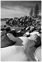 Snowy lakeshore, Lake Tahoe-Nevada State Park, Nevada. USA ( black and white)