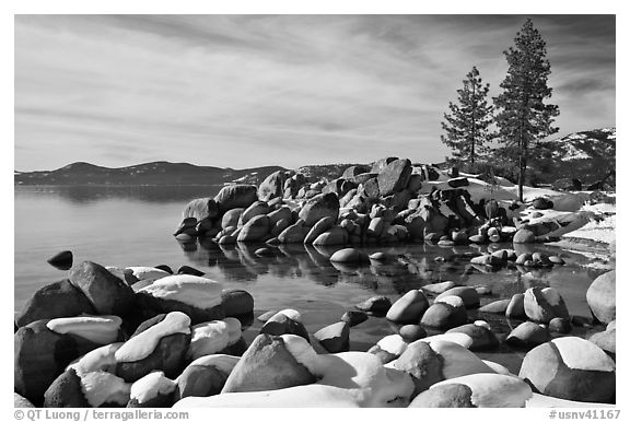 Snow and boulders on shore, Sand Harbor, Lake Tahoe-Nevada State Park, Nevada. USA (black and white)