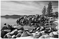 Snow and boulders on shore, Sand Harbor, Lake Tahoe-Nevada State Park, Nevada. USA ( black and white)