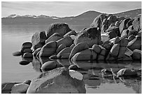 Boulders and lake in winter, Lake Tahoe-Nevada State Park, Nevada. USA ( black and white)