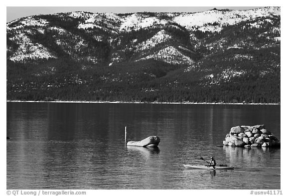 Kakak and mountains in winter, Sand Harbor, Lake Tahoe-Nevada State Park, Nevada. USA (black and white)