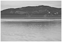 Mountains and lake in winter, Lake Tahoe, Nevada. USA ( black and white)