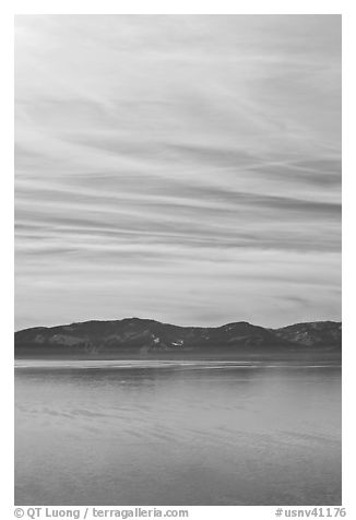 Blue mountains and clouds, winter, Lake Tahoe, Nevada. USA (black and white)