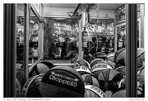 Claw crane game. Reno, Nevada, USA (black and white)