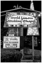 Wedding chapel at night. Reno, Nevada, USA (black and white)