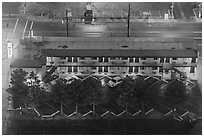Motel from above on rainy night. Reno, Nevada, USA (black and white)