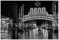 Biggest little city in the world sign and reflections. Reno, Nevada, USA (black and white)