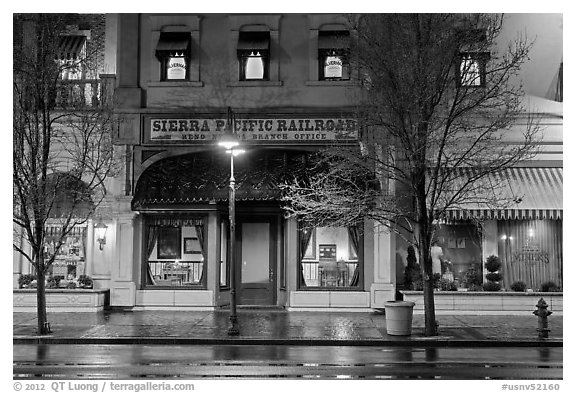 Historic Sierra Pacific railroad office in downtown. Reno, Nevada, USA (black and white)