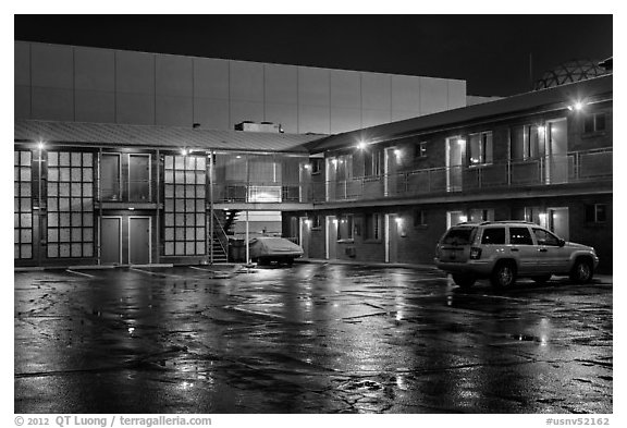 Motel on rainy night. Reno, Nevada, USA (black and white)