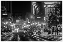 Downtown at night. Reno, Nevada, USA ( black and white)