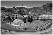 Dam with US 93 route traffic prior to bypass. Hoover Dam, Nevada and Arizona ( black and white)