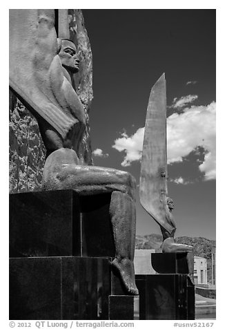 Winged Figures of the Republic. Hoover Dam, Nevada and Arizona (black and white)