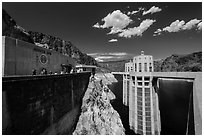 Penstock towers. Hoover Dam, Nevada and Arizona ( black and white)