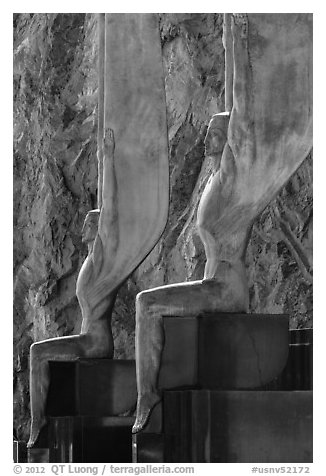 Close-up of Winged Figures of the Republic statues. Hoover Dam, Nevada and Arizona (black and white)