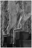 Close-up of Winged Figures of the Republic statues. Hoover Dam, Nevada and Arizona ( black and white)