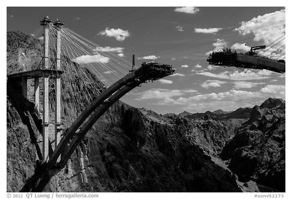 Pat Tillman Memorial Bridge (Hoover Dam Bypass) under construction. Hoover Dam, Nevada and Arizona (black and white)