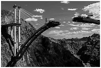 Pat Tillman Memorial Bridge (Hoover Dam Bypass) under construction. Hoover Dam, Nevada and Arizona ( black and white)