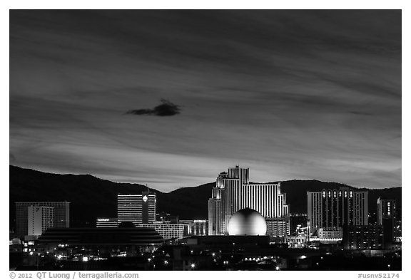 Reno skyline at night. Reno, Nevada, USA (black and white)